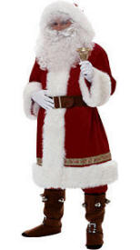 deluxe old time santa claus suit with hood costume - Santa Claus Coat