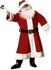plush old time santa claus suit with hood costume - Santa Claus Coat