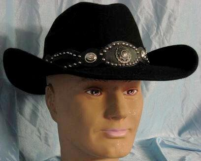 9ed08b22726 Wool Felt Cowboy Cattleman Hat w Studded Band
