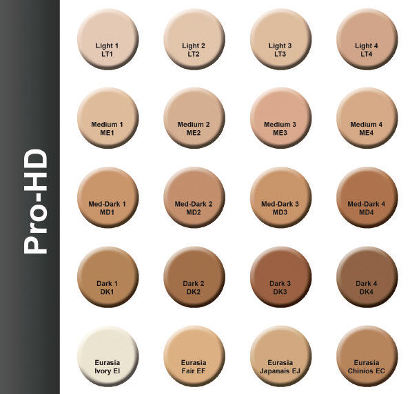 Mehron Celebre Pro HD Make Up Color Chart