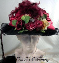 68c16ba261e Black Victorian Touring Hat with Burgundy