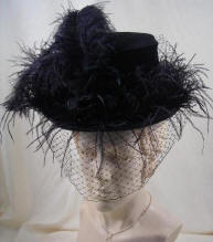 325a4cb4400 Black Felt Victorian Riding Hat with Veiling and black ostrich plumes